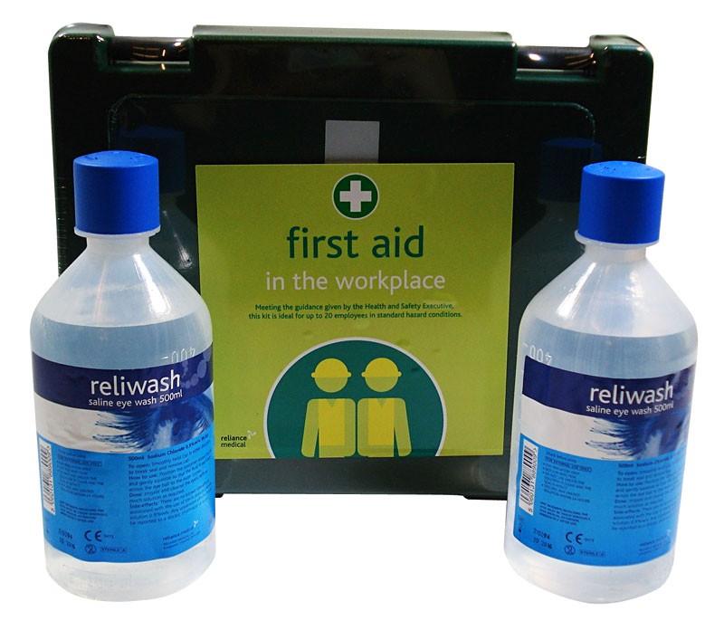 First Aid Kit + 2 x 500ml Eyewash